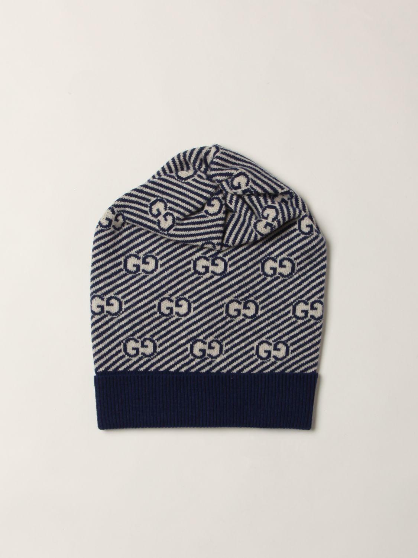 Cappello bambino Gucci: Cappello a berretto Gucci in lana con logo GG all over blue 1