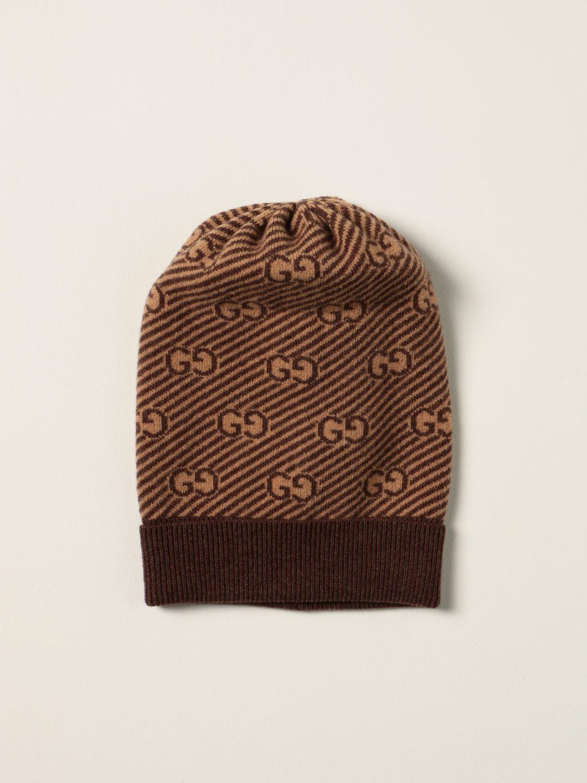 Cappello bambino Gucci: Cappello a berretto Gucci in lana con logo GG all over beige 1