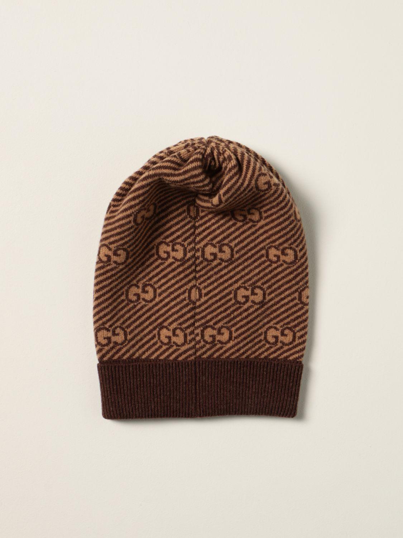 Cappello bambino Gucci: Cappello a berretto Gucci in lana con logo GG all over beige 2