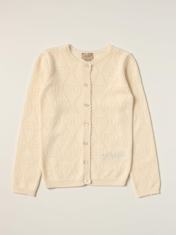 Maglia Gucci: Cardigan Gucci in lana con motivo GG all over traforato panna 1