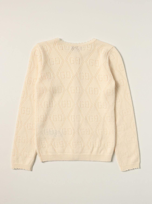 Maglia Gucci: Cardigan Gucci in lana con motivo GG all over traforato panna 2