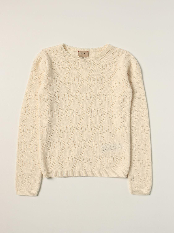Maglia Gucci: Maglia Gucci in lana con motivo GG all over traforato panna 1
