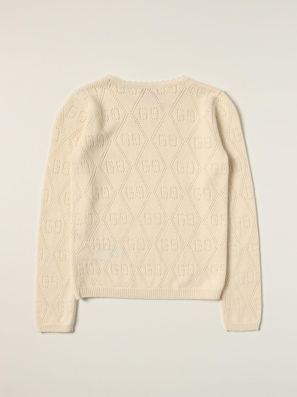 Maglia Gucci: Maglia Gucci in lana con motivo GG all over traforato panna 2