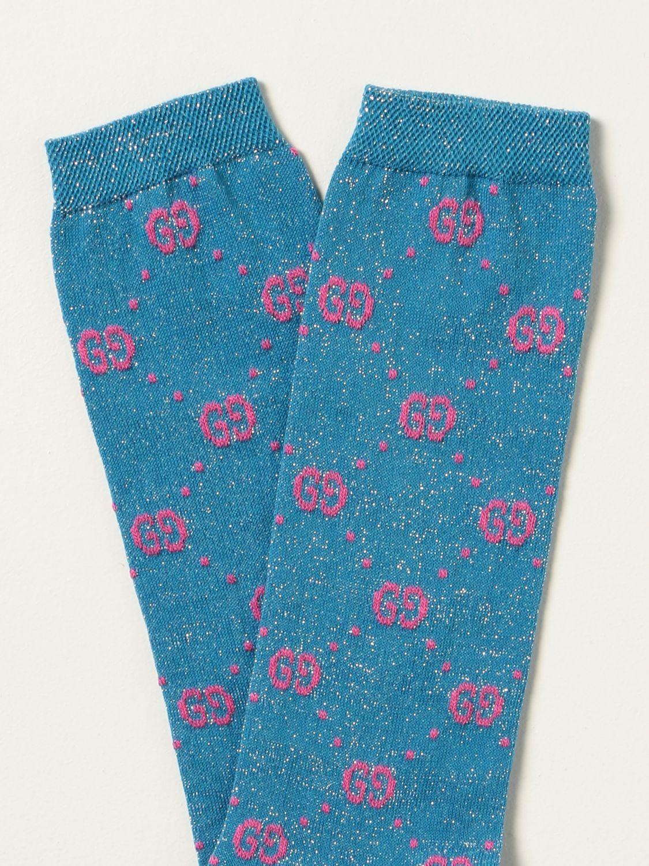Calze bimba Gucci: Calzini Gucci in cotone con motivo GG Supreme in lamé azzurro 2
