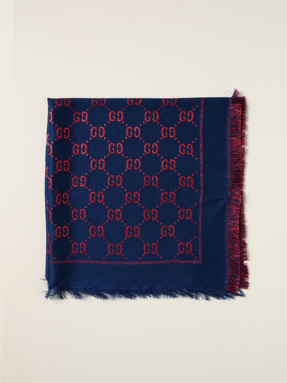 Sciarpa bimba Gucci: Sciarpa Gucci lamé con motivo GG Supreme all over azzurro 1