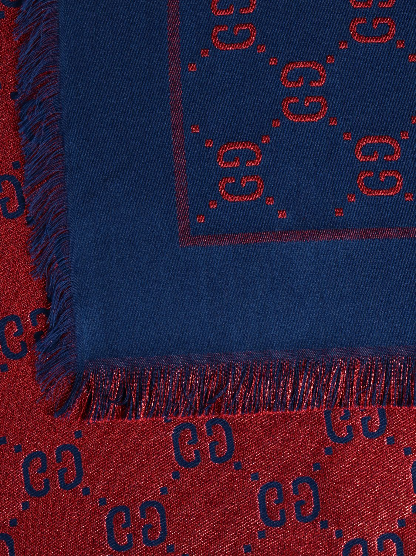 Sciarpa bimba Gucci: Sciarpa Gucci lamé con motivo GG Supreme all over azzurro 3
