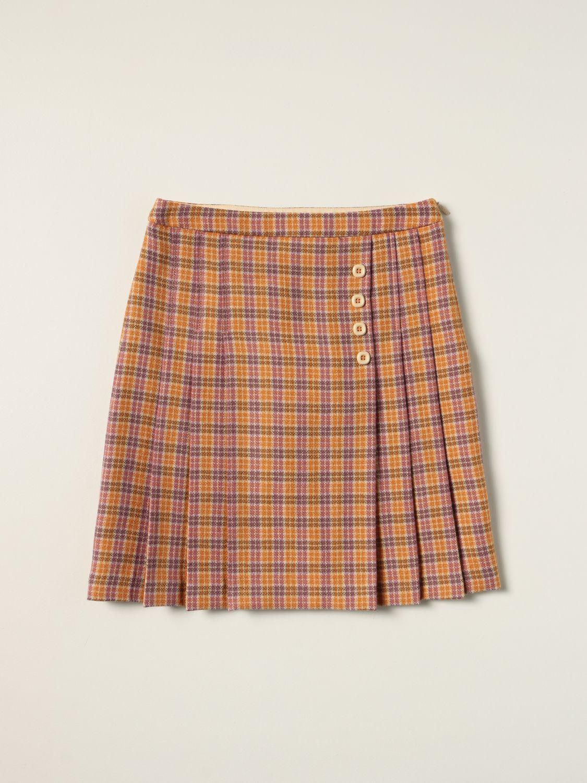 Gonna Gucci: Gonna Gucci in lana a quadri arancione 1
