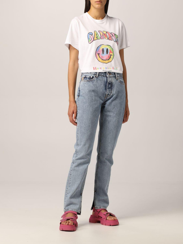 T-Shirt Ganni: Ganni cotton T-shirt with smile print white 2