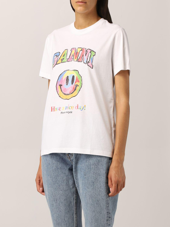 T-Shirt Ganni: Ganni cotton T-shirt with smile print white 4