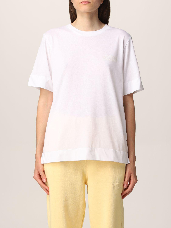 T-Shirt Ganni: Ganni Software T-shirt in recycled EcoLife® yarn white 1