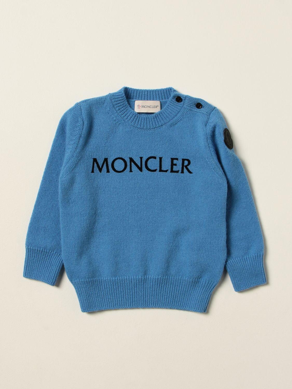 Maglia Moncler: Maglia Moncler in lana con logo azzurro 1