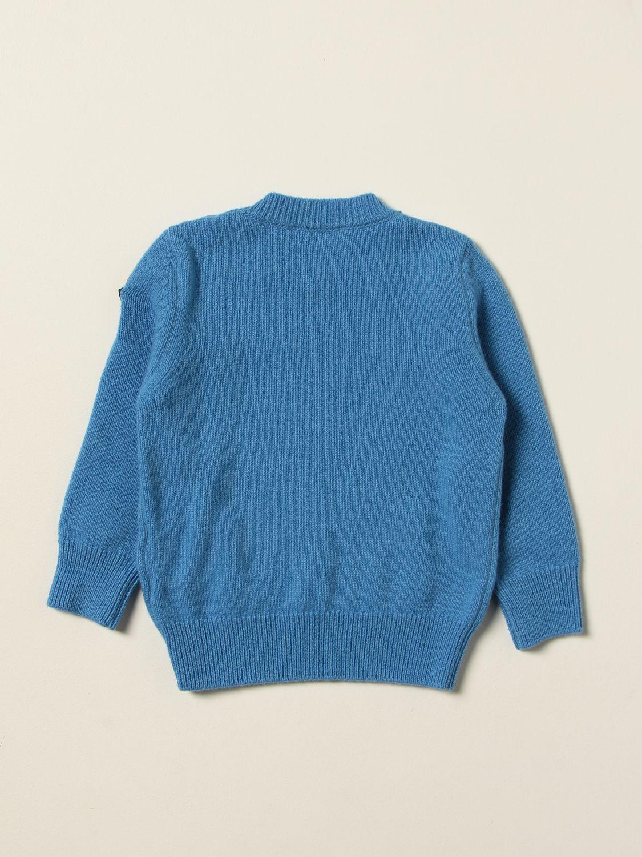Maglia Moncler: Maglia Moncler in lana con logo azzurro 2