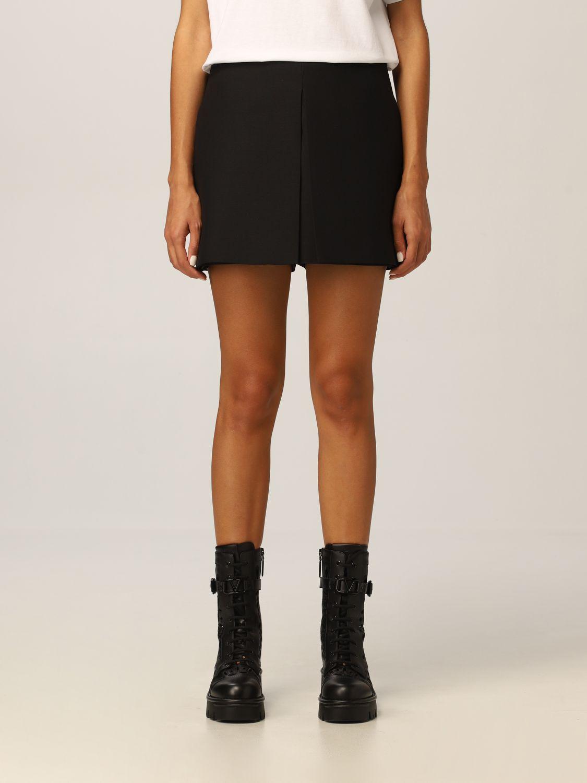 Pantaloncino Valentino: Pantaloncini Valentino in lana e seta con piegone nero 1