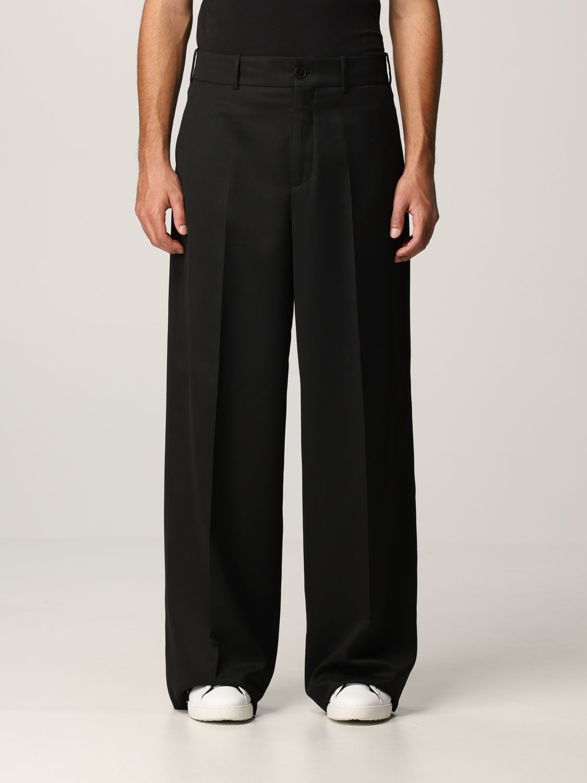 Pantalone Valentino: Pantalone Valentino in lana vergine e seta nero 1