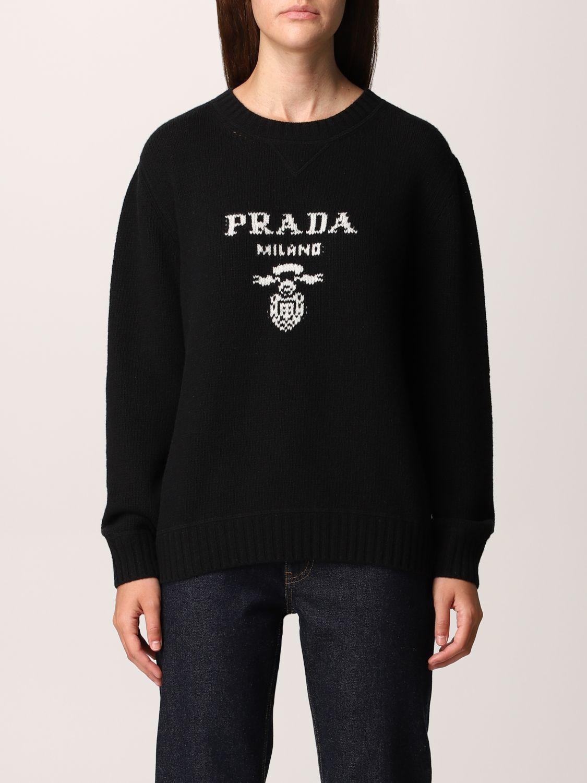Maglia Prada: Maglione Prada in lana e cashmere con logo nero 1