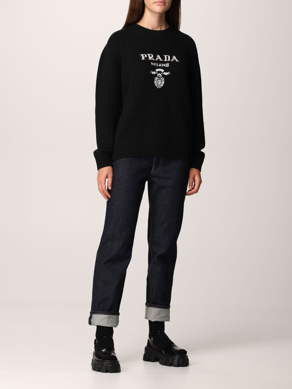 Maglia Prada: Maglione Prada in lana e cashmere con logo nero 2