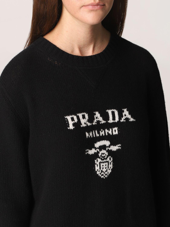 Maglia Prada: Maglione Prada in lana e cashmere con logo nero 5