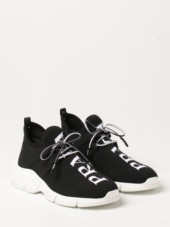 Sneakers Prada: Sneakers Prada in tessuto knit con logo nero 2