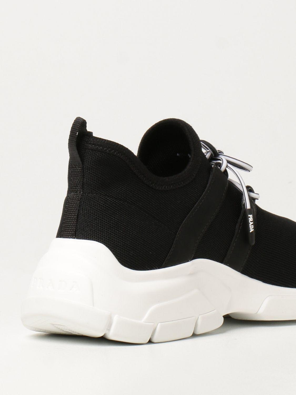 Sneakers Prada: Sneakers Prada in tessuto knit con logo nero 3