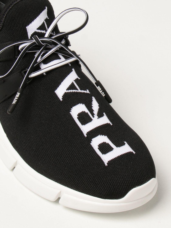 Sneakers Prada: Sneakers Prada in tessuto knit con logo nero 4