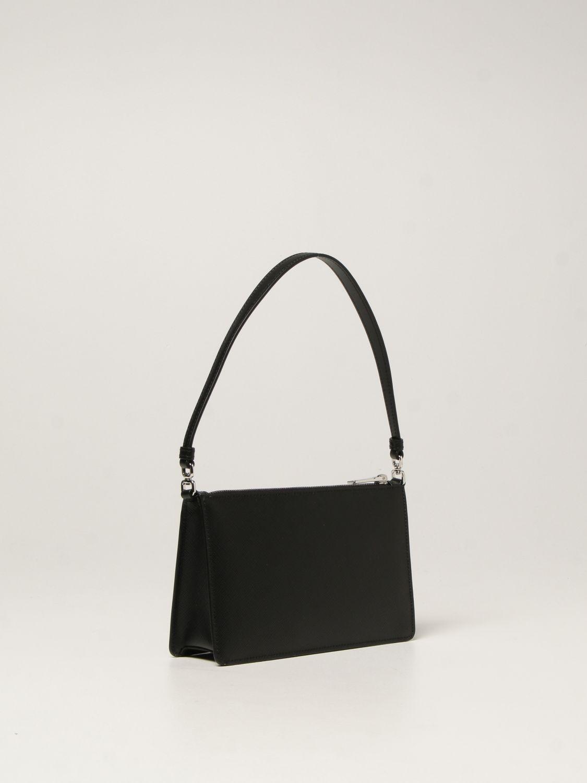 Borsa a spalla Prada: Borsa Prada in pelle saffiano con logo triangolare nero 3