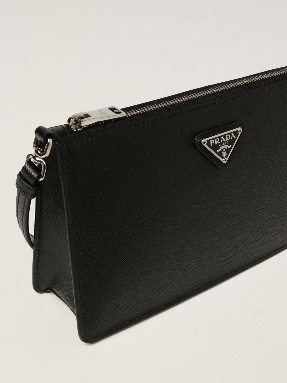 Borsa a spalla Prada: Borsa Prada in pelle saffiano con logo triangolare nero 4