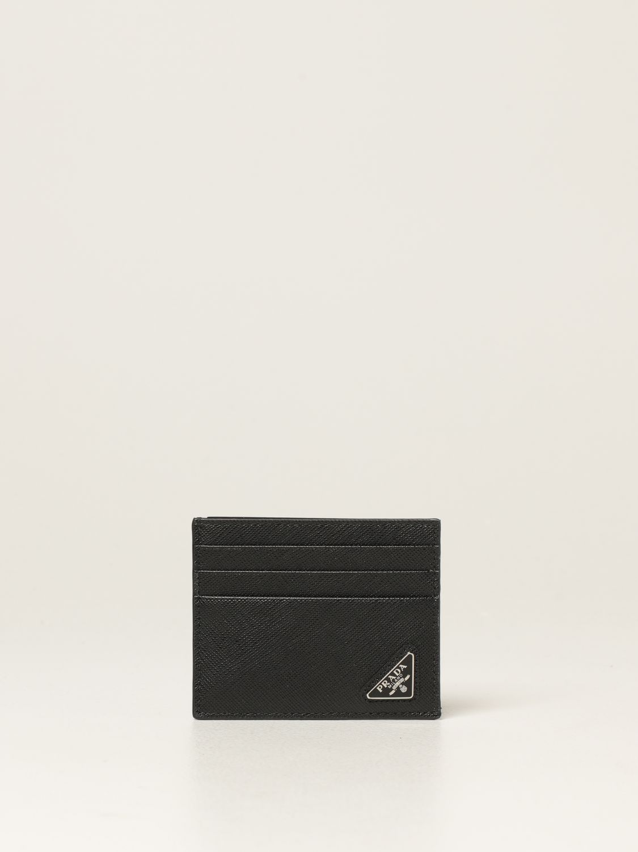 Portafoglio Prada: Porta carte di credito Prada in pelle saffiano nero 1