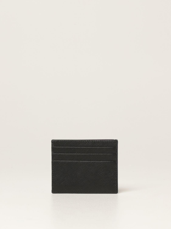 Portafoglio Prada: Porta carte di credito Prada in pelle saffiano nero 2