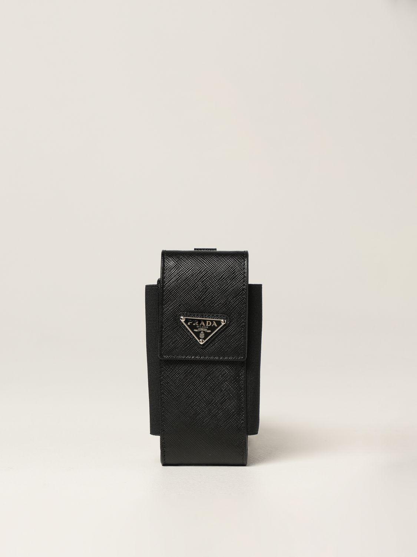 Cover Prada: Porta cellulare Prada in pelle saffiano nero 1