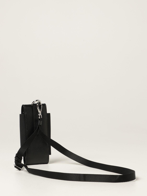 Cover Prada: Porta cellulare Prada in pelle saffiano nero 4