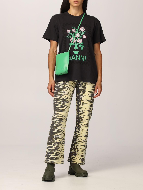 T-Shirt Ganni: Ganni cotton T-shirt with vase graphics black 2