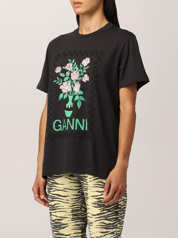 T-Shirt Ganni: Ganni cotton T-shirt with vase graphics black 4