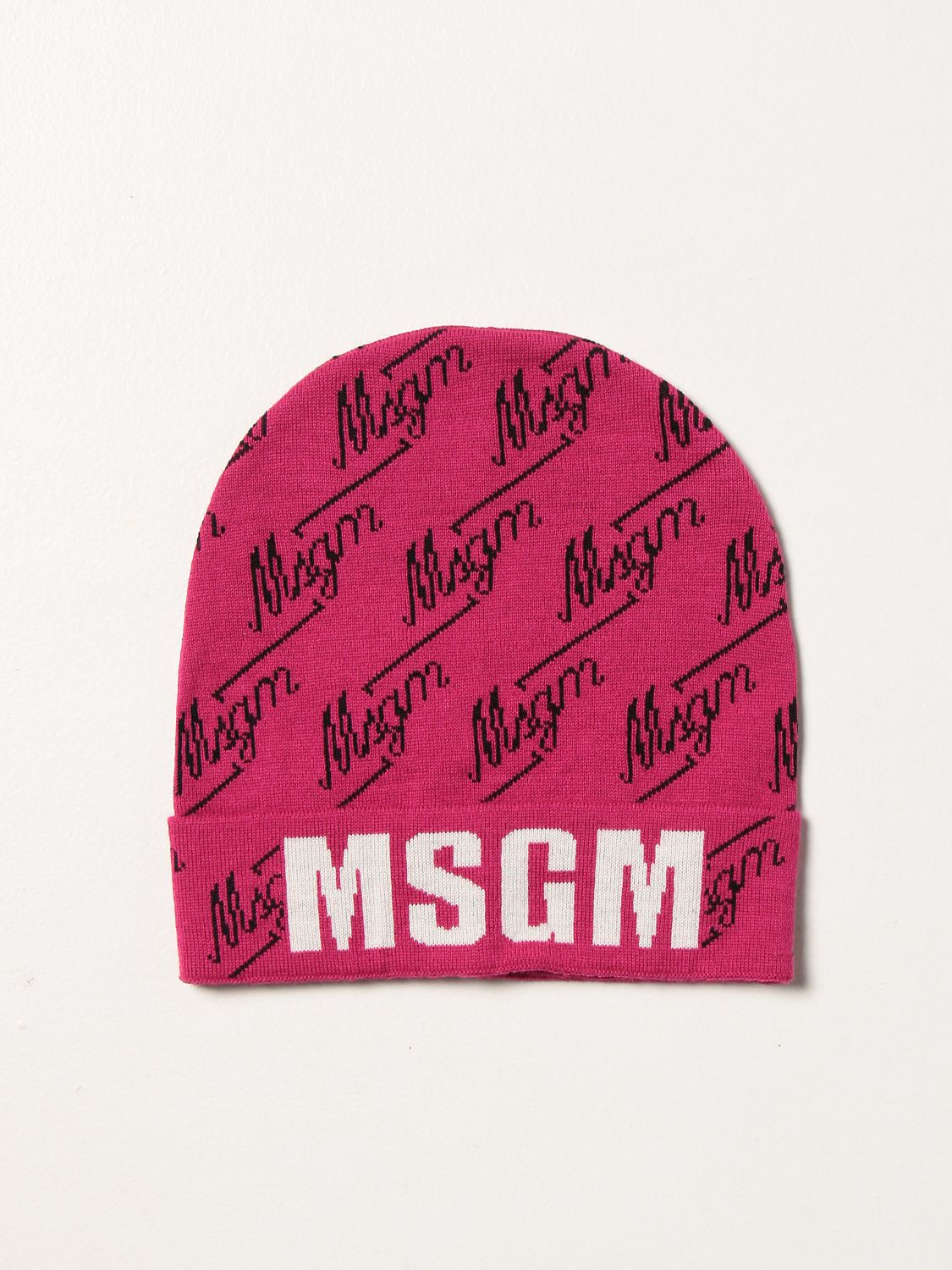Hat girl Msgm Kids: Msgm Kids hat with all over logo fuchsia 1