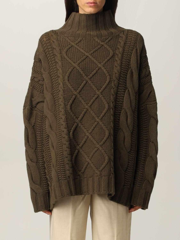 Maglia Max Mara: Maglia Max Mara a trecce in cashmere e lana verde 1