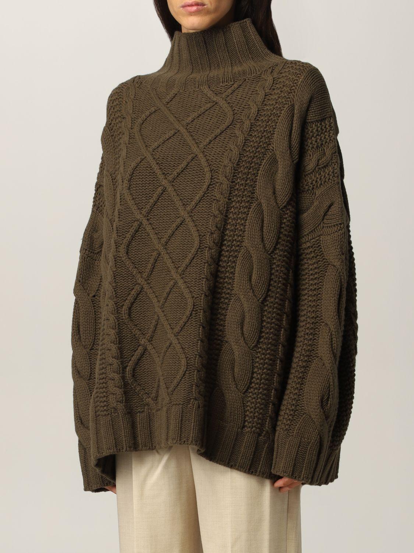 Maglia Max Mara: Maglia Max Mara a trecce in cashmere e lana verde 4