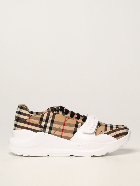 Sneakers Burberry: Sneakers Burberry in cotone con motivo check beige 1