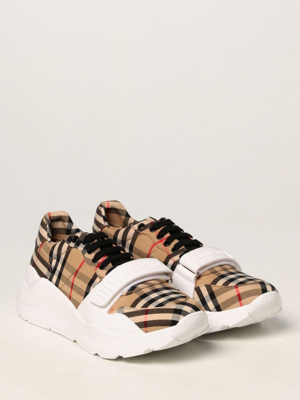 Sneakers Burberry: Sneakers Burberry in cotone con motivo check beige 2