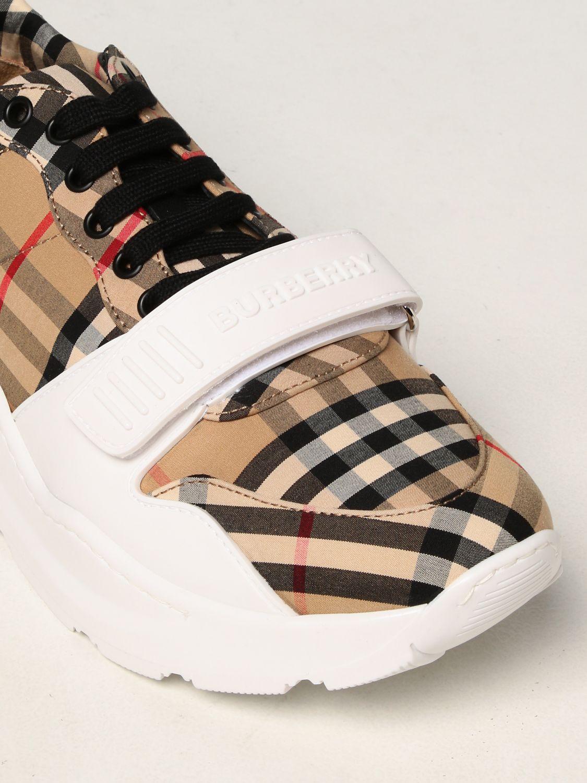 Sneakers Burberry: Sneakers Burberry in cotone con motivo check beige 4