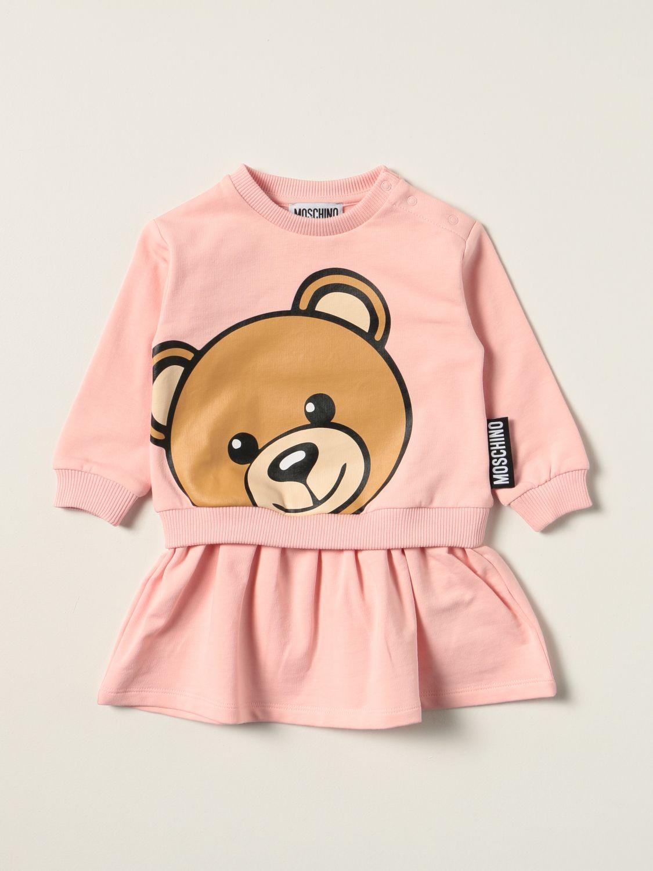 Abito Moschino Baby: Abito a felpa Moschino Baby con big teddy rosa 1