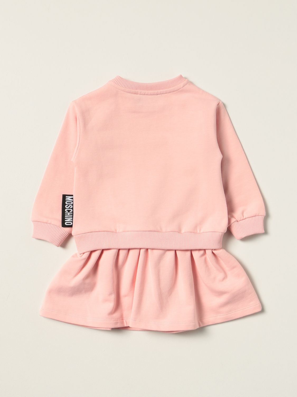 Abito Moschino Baby: Abito a felpa Moschino Baby con big teddy rosa 2