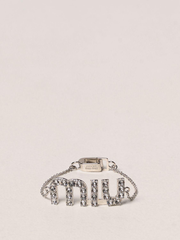 Gioielli Miu Miu: Bracciale Miu Miu con cristalli argento 1