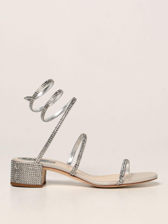 Босоножки на каблуке Rene Caovilla: Обувь Женское Rene Caovilla серебряный 1