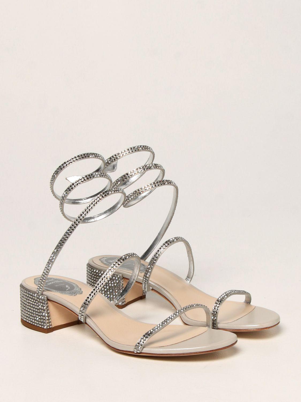 Босоножки на каблуке Rene Caovilla: Обувь Женское Rene Caovilla серебряный 2