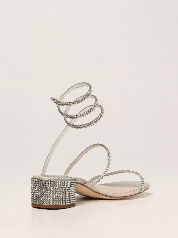Босоножки на каблуке Rene Caovilla: Обувь Женское Rene Caovilla серебряный 3