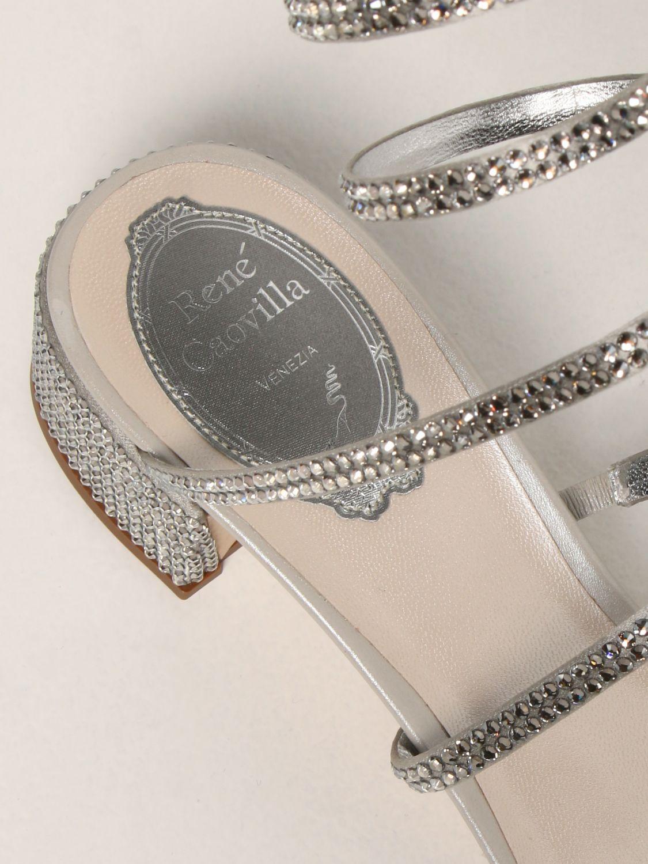 Босоножки на каблуке Rene Caovilla: Обувь Женское Rene Caovilla серебряный 4