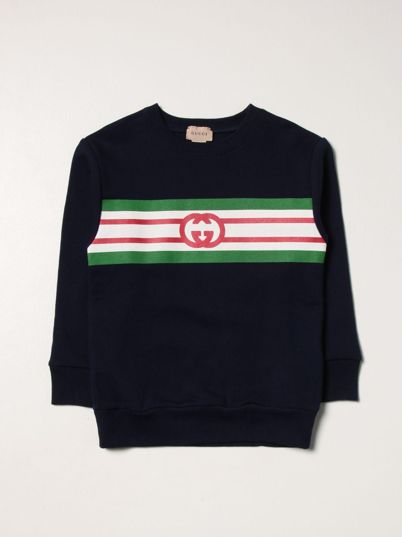 Maglia Gucci: Girocollo con stampa logo blue 1