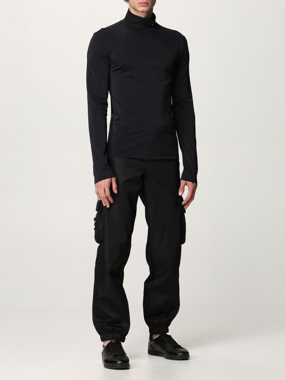 Maglia Prada: Lupetto jersey tecnico con logo nero 2