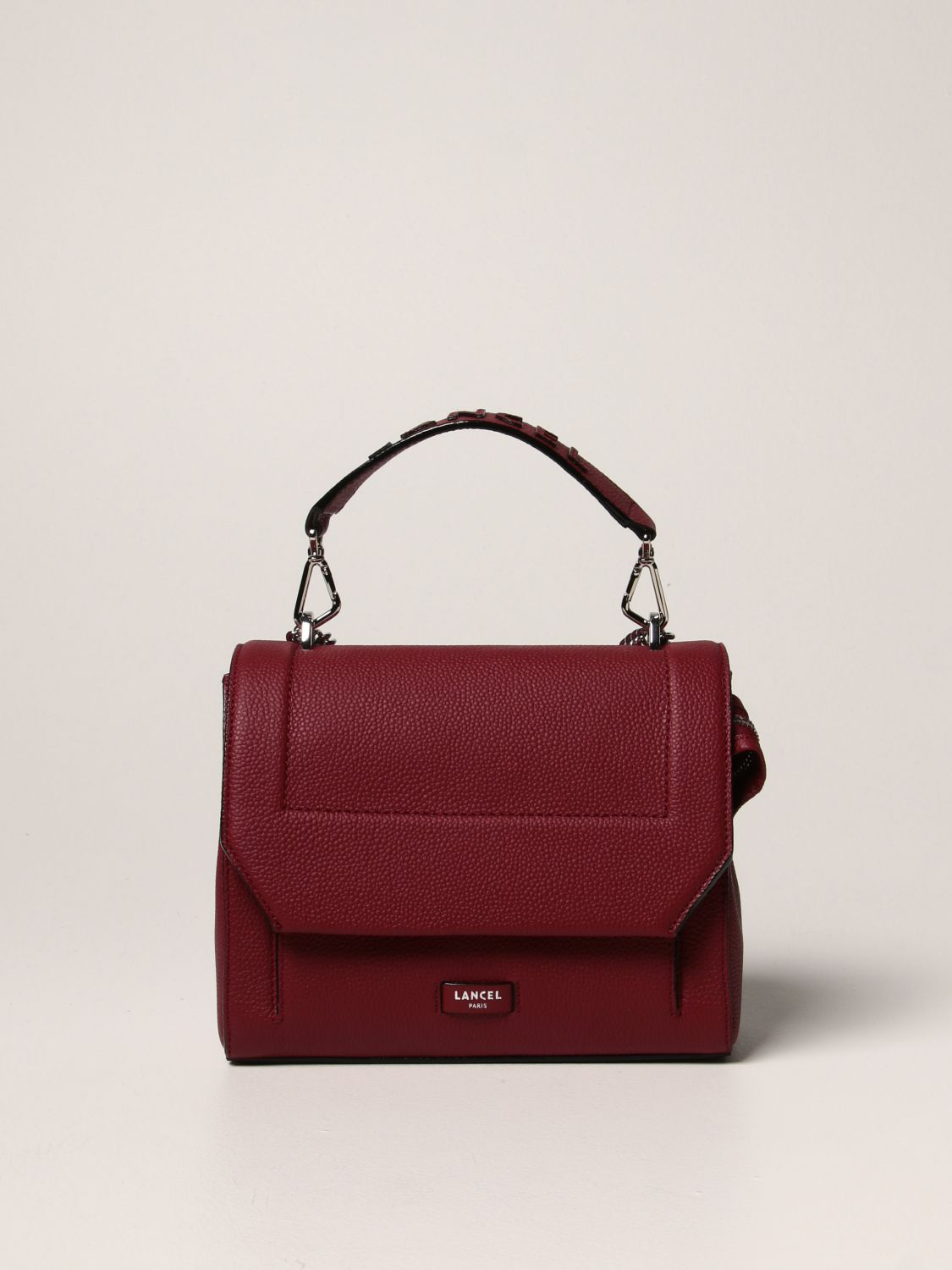 Lancel Bag In Grained Leather In Burgundy