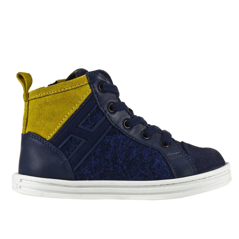 Sneaker Rebel Junior in camoscio bicolor feltro e pelle con H flock blue 1