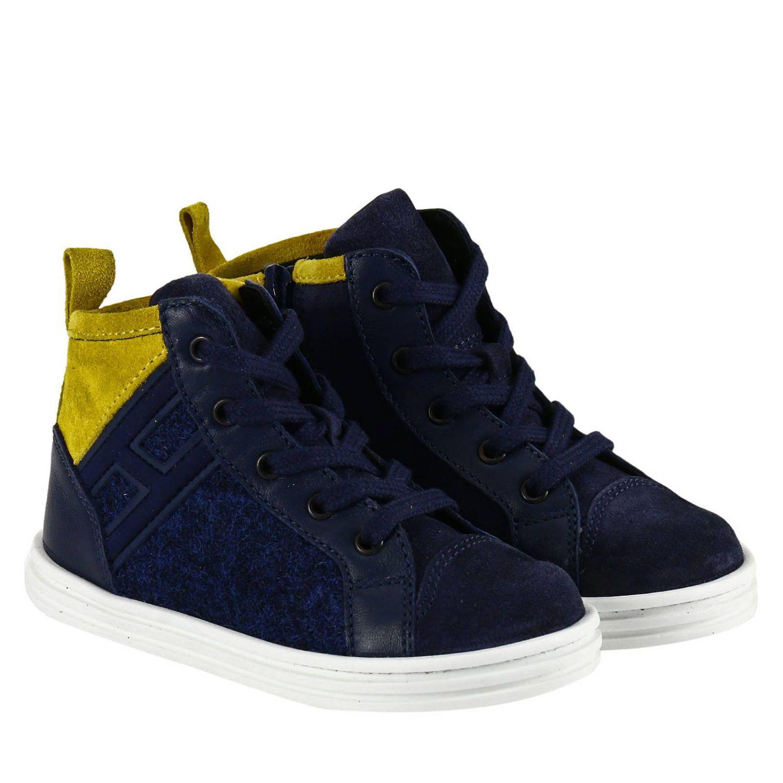 Sneaker Rebel Junior in camoscio bicolor feltro e pelle con H flock blue 2
